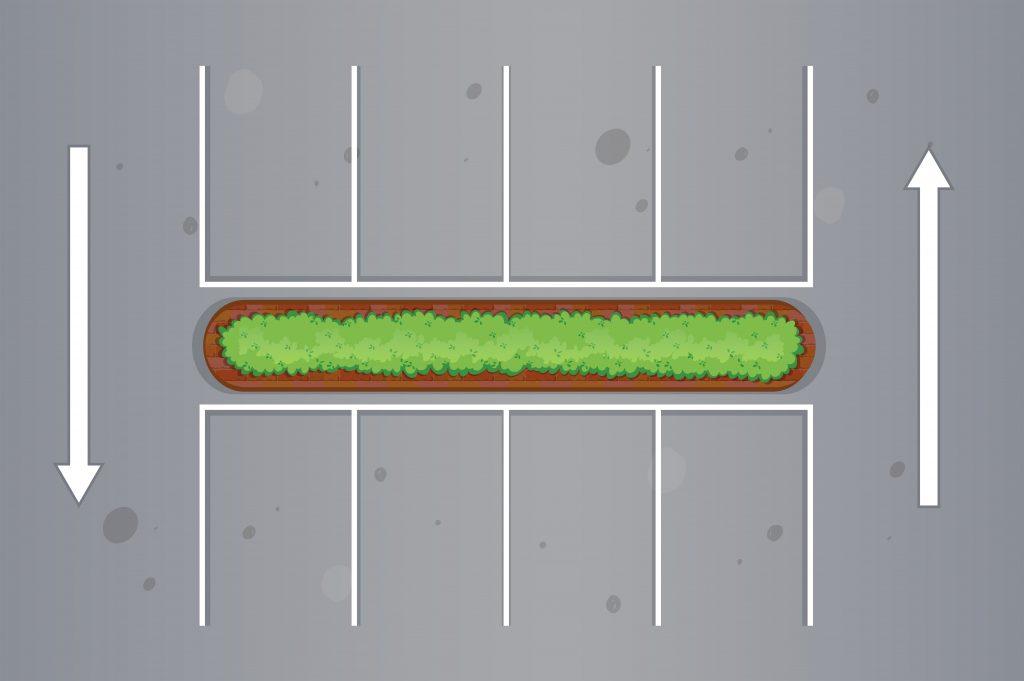 Grafische Darstellung von Parkplätzen aus der Vogelperspektive